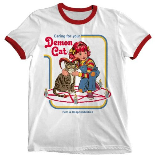 Caring For Your Demon Cat Ringer T-Shirt