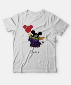 Baby Yoda Mickey Mouse Balloons LSU Tigers T-Shirt