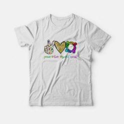 Peace Love Social Word T-Shirt